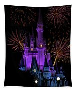Magic Kingdom Castle In Purple With Fireworks 03 Tapestry