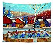 Magical Pond Hockey Memories Hockey Art Snow Falling Winter Fun Country Hockey Scenes  Spandau Art Tapestry