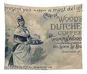 Maid Serving Coffee Advertisement For Woods Duchess Coffee Boston  Tapestry