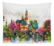 Main Street Sleeping Beauty Castle Disneyland Photo Art 01 Tapestry