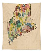 Maine Map Vintage Watercolor Tapestry