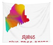 Maine State Map Collection 2 Tapestry