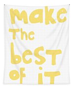 Make The Best Of It- Yellow And White Tapestry by Linda Woods