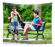 Making A New Friend In The Park Tapestry