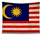 Malaysia Flag Vintage Distressed Finish Tapestry