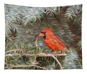 Male Cardinal In Spruce Tree Tapestry