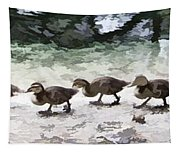 Mama Duckies And Her Babies Tapestry