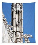 Man And Dragon Gargoyles With Tower Duomo Di Milano Italia Tapestry