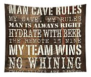 Man Cave Rules Square Tapestry