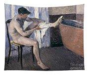 Man Drying His Leg  Tapestry