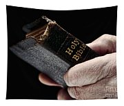 Man Hands Holding Old Bible Tapestry