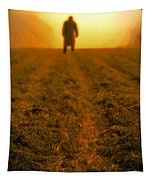 Man In Field At Sunset Tapestry