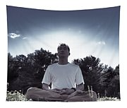 Man Meditating In The Nature During Sunrise Tapestry