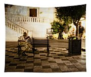 Man On The Bench Tapestry