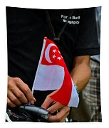 Man Plants Singapore Flag On Bicycle Tapestry