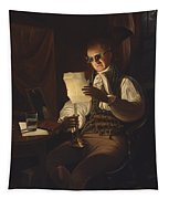 Man Reading By Candlelight Tapestry
