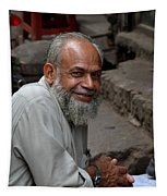 Man Smiles For Camera Lahore Pakistan Tapestry