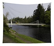 Man With Kayak Crossing Over Small Bridge From Ness Islands Tapestry