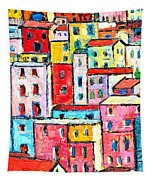 Manarola Colorful Houses Painting Detail Tapestry