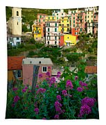 Manarola Flowers And Houses Tapestry