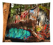 Mangled Whistler Train Wreck Box Car Tapestry
