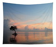Mangrove Tree In Water At Sunrise Tapestry