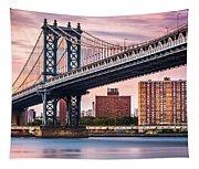 Manhattan Bridge Under A Purple Sunset Tapestry