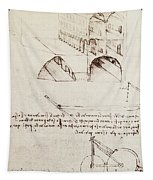 Manuscript B F 36 R Architectural Studies Development And Sections Of Buildings In City With Raise Tapestry