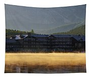 Many Glacier Hotel Sunrise Panorama Tapestry