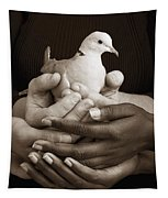 Many Hands Holding A Dove Tapestry