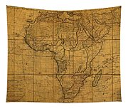 Map Of Africa Circa 1829 On Worn Canvas Tapestry