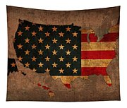 Map Of America United States Usa With Flag Art On Distressed Worn Canvas Tapestry