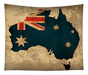 Map Of Australia With Flag Art On Distressed Worn Canvas Tapestry