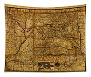 Map Of Denver Rio Grande Railroad System Including New Mexico Circa 1889 Tapestry