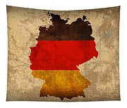 Map Of Germany With Flag Art On Distressed Worn Canvas Tapestry
