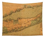 Map Of Long Island 1888 Tapestry