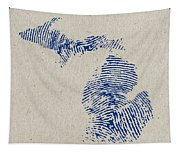 Map Of Michigan Great Lake State Fingerprint Art Tapestry