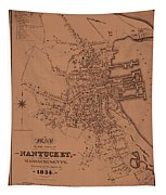 Map Of Nantucket 1834 Tapestry
