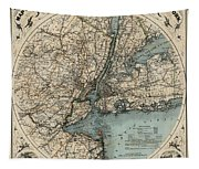 Map Of New York 1891 Tapestry