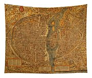 Map Of Paris France Circa 1550 On Worn Canvas Tapestry