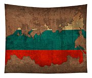 Map Of Russia With Flag Art On Distressed Worn Canvas Tapestry