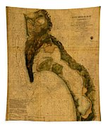 Map Of San Diego Bay California Circa 1857 On Worn Distressed Canvas Parchment Tapestry