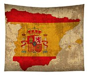 Map Of Spain With Flag Art On Distressed Worn Canvas Tapestry