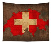 Map Of Switzerland With Flag Art On Distressed Worn Canvas Tapestry