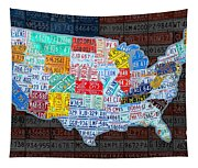 Map Of The United States In Vintage License Plates On American Flag Tapestry