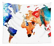 Map Of The World 8 -colorful Abstract Art Tapestry