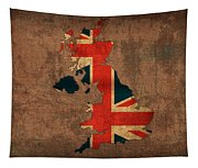 Map Of United Kingdom With Flag Art On Distressed Worn Canvas Tapestry
