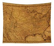 Map Of United States Of America Vintage Schematic Cartography Circa 1855 On Worn Parchment  Tapestry