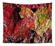 Maple Leaves Cracked Square Tapestry