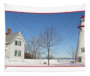 Marblehead Lighthouse In Snow Tapestry